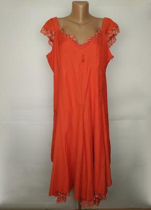 Платье натуральное красивое с вышивкой кружевом большой размер uk 20/48/3xl