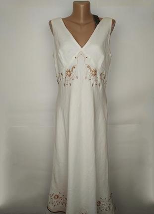 Платье новое белое натуральное рами с вышивкой и ракушками uk 16/44/xl