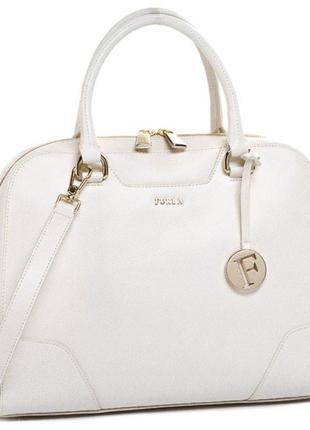 Новая оригинал. статусная кожаная сумка furla dolly белая кожа saffiano