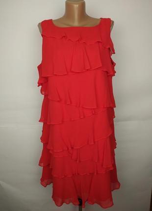Платье шелковое красное шикарное с воланами большой размер monsoon uk 18/46/xxl