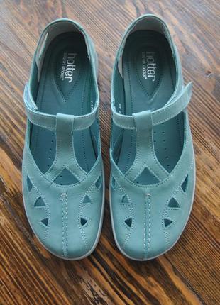 Кожаные туфли босоножки мокасины hotter / шкіряні туфлі