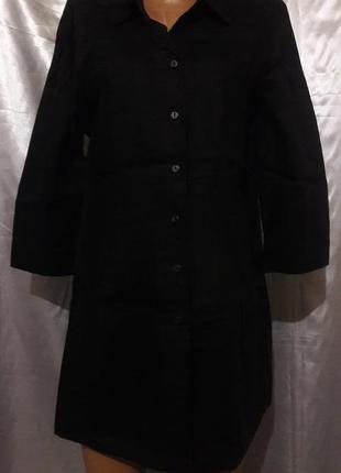 Черная удлиненная рубашка из палированного льна