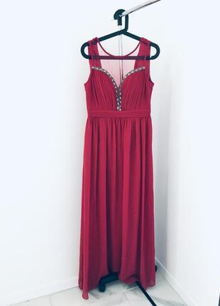 Новое вечернее платье в пол расшито камнями с сеточкой декольте