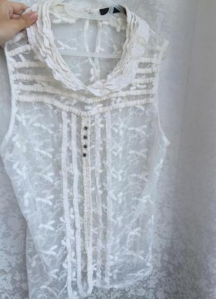 Кружевная блуза zara р. m/l блузка