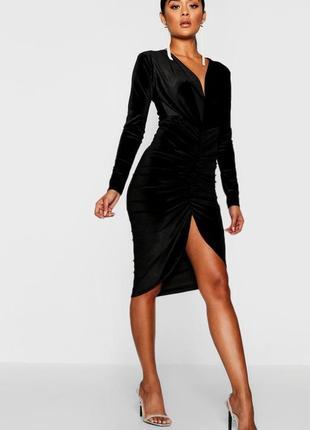 Новое бархатное присобранное платье с бирками