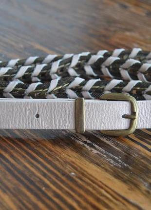 Кожаный плетеный пудровый ремень promod / шкіряний ремінь пояс