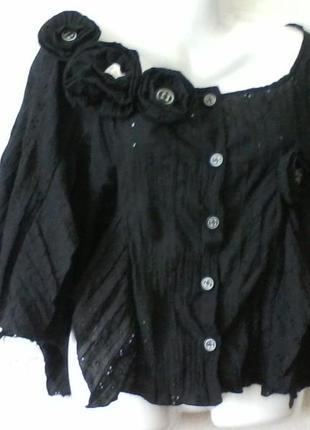Блуза, пиджак, болеро в стиле бохо, винтажное шитье, оголенные плечи разм. 48