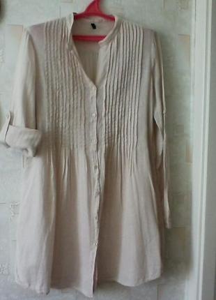 Льняная рубашка блуза, лен, от benetton, длинная, разм. 44