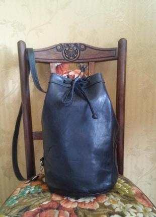 Черная кожаная сумка -ведро original bodi bag natural black leather