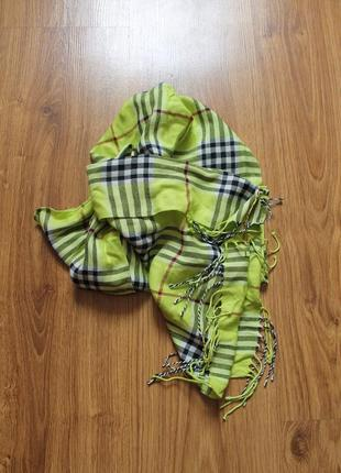Легкий цветастый шарф в стиле burberry италия шерсть и шелк