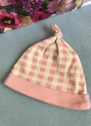 Хлопковая шапочка для девочки 3-6 мес