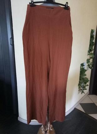 Летние терракотовые брюки из вискозы,на высокий рост