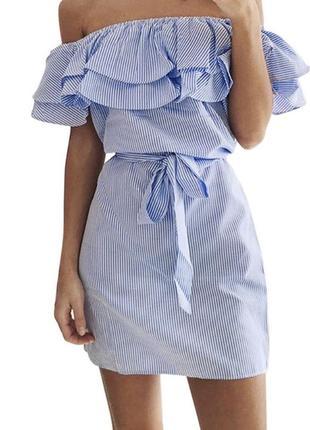 Летнее платье сарафан с открытыми плечами  с,м
