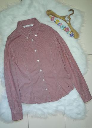 Фирменная коттоновая рубашка в клетку  tommy hilfiger