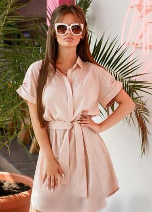 Льняное платье рубашка с м л