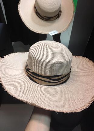 Плетеная шляпка широкополая летняя эксклюзив тигровая лента