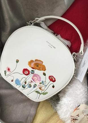 Кругла сумка david jones з вишивкою, білого кольору