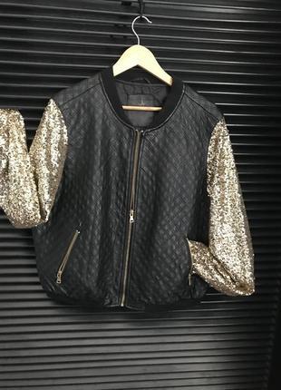 Куртка бомбер эко кожа золото, очень эффектная 18