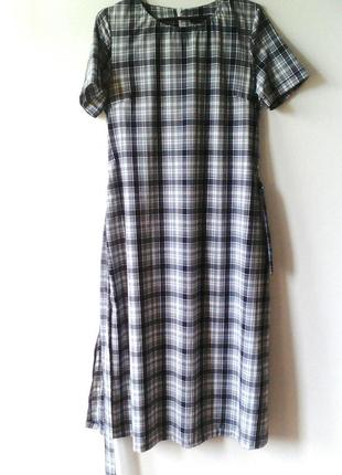 Платье в клетку, серое платье в клетку, серое платье