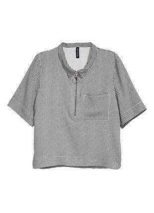 Вискозная клетчатая рубашка из вискозы блузка в клетку с короткими рукавами и молнией