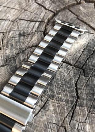 Регулируемый сменный ремешок из нержавеющей стали apple watch 42 mm /44 mm двухцветный