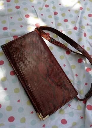Дизайнерський оригинальный клатч кожаный кожа питона сумка змеиный принт waldes