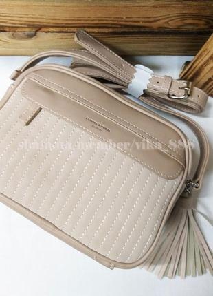 Клатч, сумка через плечо кросс-боди david jones 5967-2 бежевый