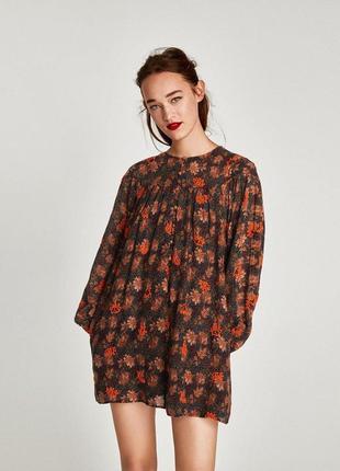Платье в цветочный принт туника с вышивкой zara