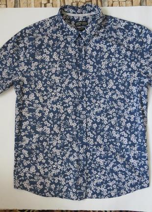 Летняя рубашка с  коротким рукавом и цветочным принтом