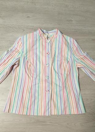 Яркий стильный коттоновий  разноцветный пиджак м, стильний кольоровий піджак в полоску