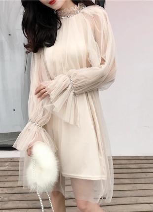 Пудровое фатиновое нарядное платье