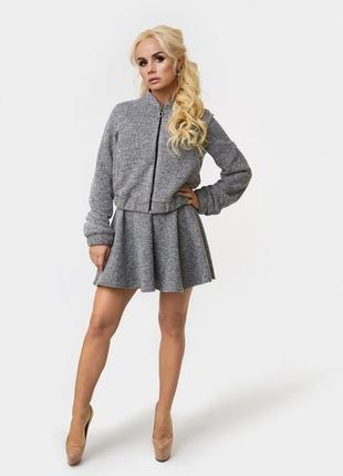 Новый тёплый костюм luxlook! курточка+юбка клёш! размер xs/s/m.