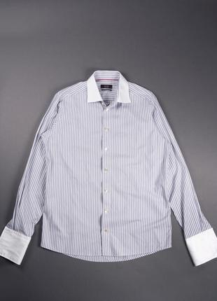 Белая рубашка в полоску под запонки eton