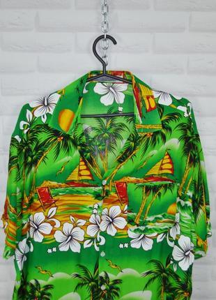 Гавайка мужская шведка зеленая гавайская рубашка с коротким рукавом летняя