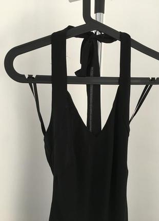 Вечернее длинное черное платье за шею с воланами2 фото