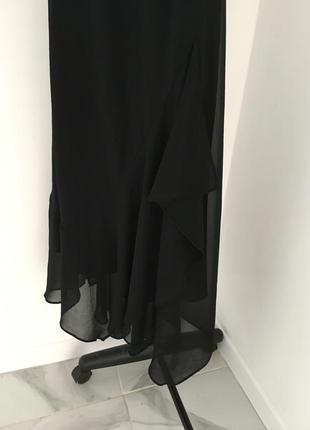 Вечернее длинное черное платье за шею с воланами5 фото