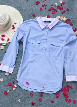 Рубашка zara лилового цвета.