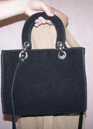 Модная сумка на длинном ремне 2 вида ручек шерсть