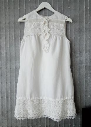 Белое платье massimo dutti , лен