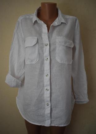 Белая льняная блуза-рубашка