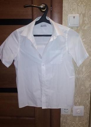 Белая рубашка m&s с коротким рукавом 11-12л