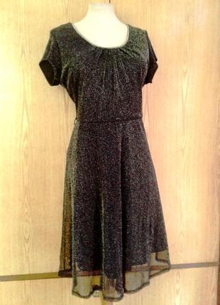 Тонкое люрексовое черное платье, l -2xl2 фото