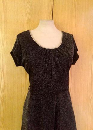 Тонкое люрексовое черное платье, l -2xl4 фото