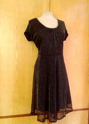 Тонкое люрексовое черное платье, l -2xl5 фото