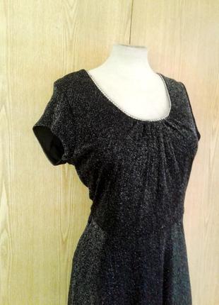 Тонкое люрексовое черное платье, l -2xl7 фото