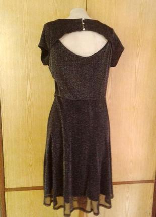 Тонкое люрексовое черное платье, l -2xl