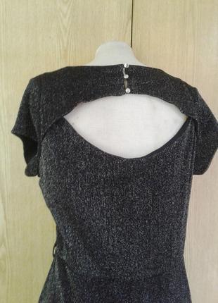 Тонкое люрексовое черное платье, l -2xl3 фото