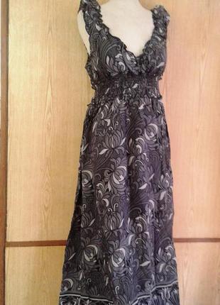Катоновое серое платье - сарафан в пол, хl- 3хl.