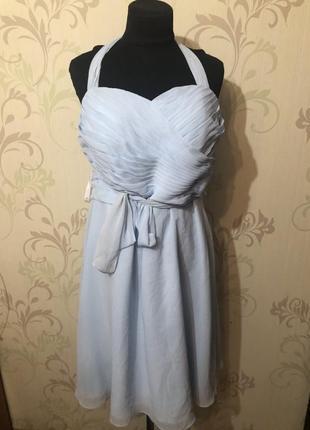 Брендовое коктельное платье небесно голубого цвета azazie цена уходящего лета без торга