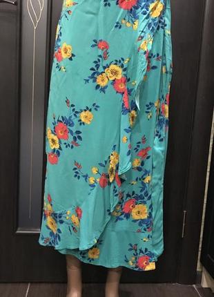 Миди  юбка на запах,юбка с воланами,цветочный принт